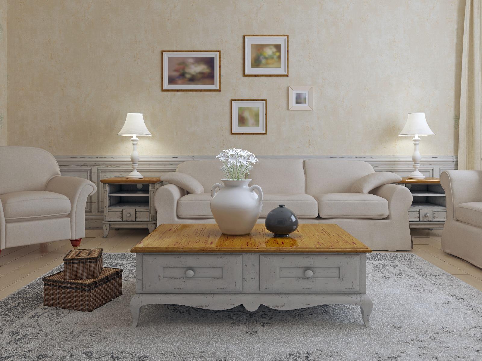 Das Bild zeigt einen Wohnzimmertisch im Landhausstil.