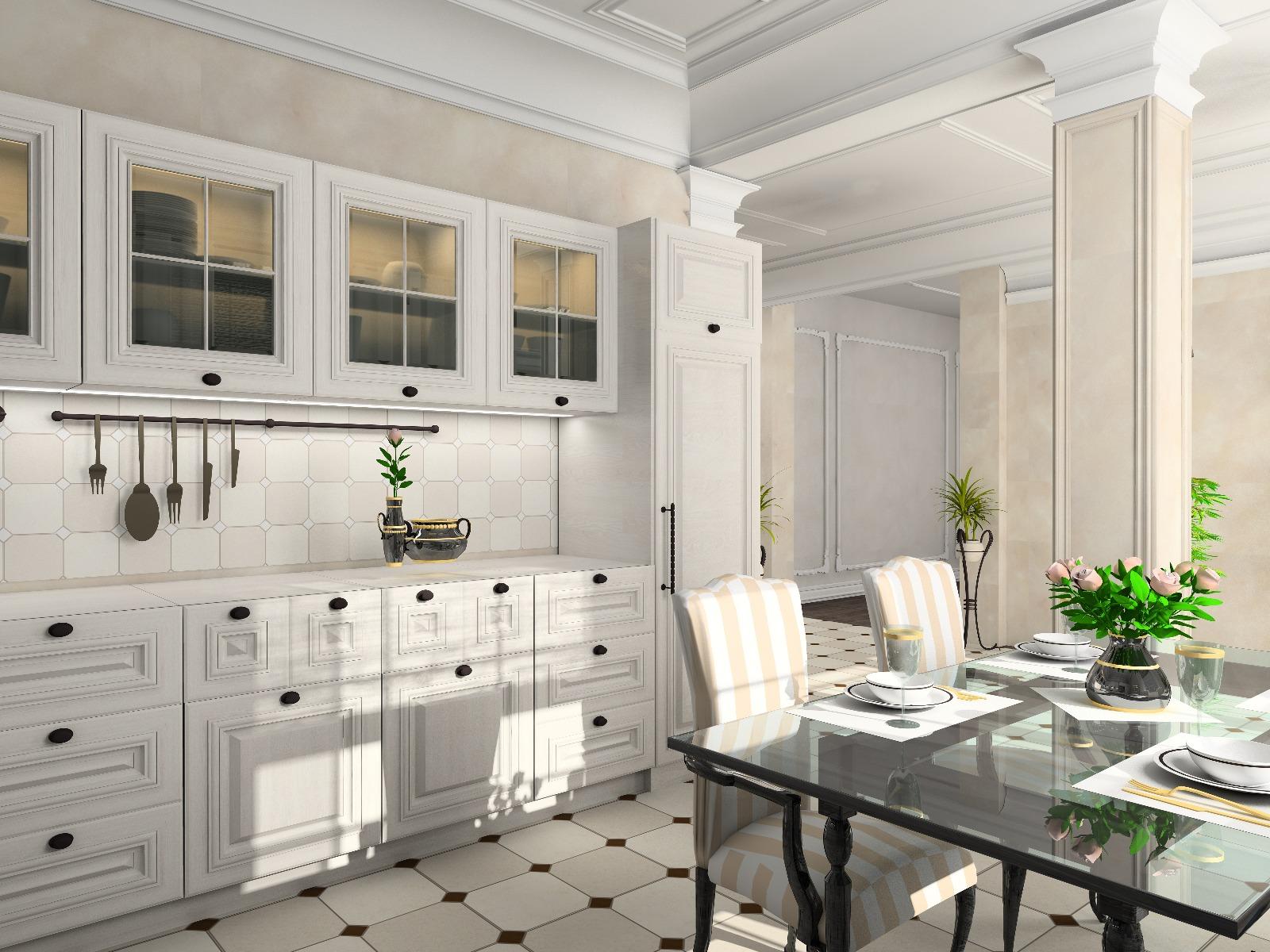 Das Bild zeigt eine Küche im modernen Landhausstil.