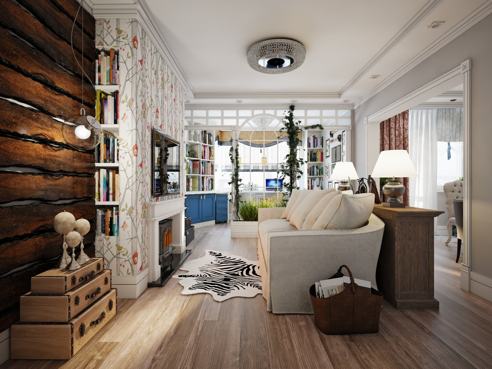 Das Bild zeigt ein Zimmer mit Textilien und Mustern im Landhausstil.