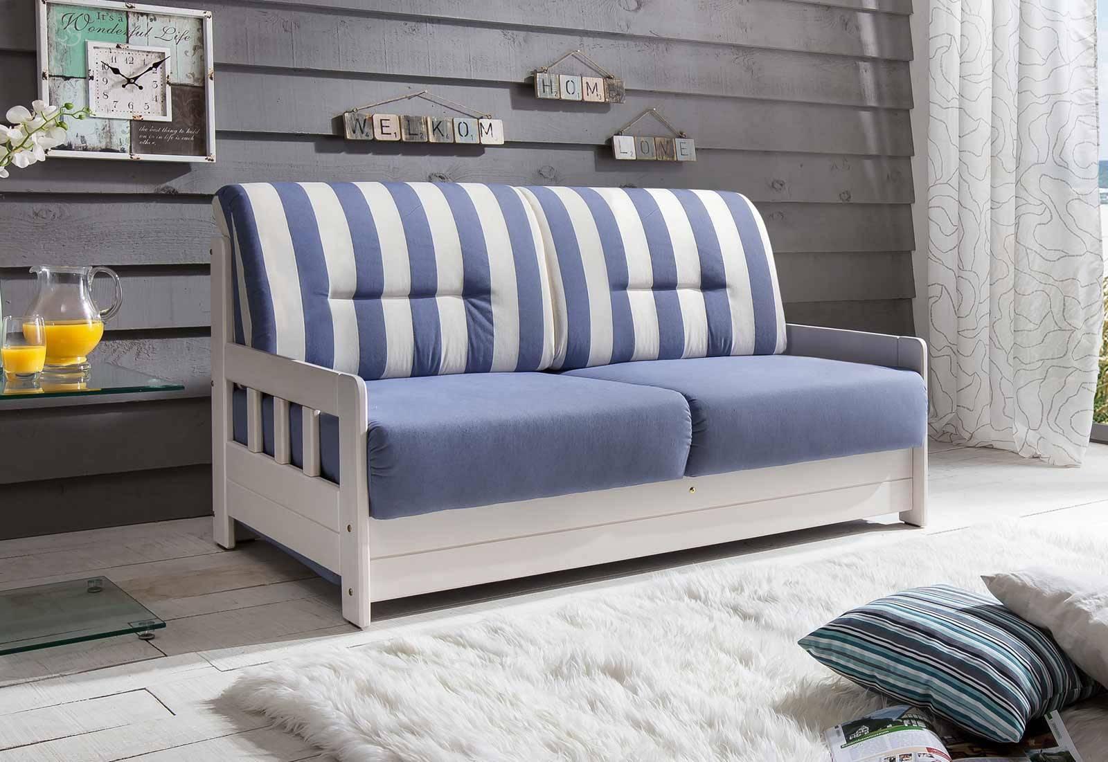 Das Bild zeigt ein gestreiftes Sofa.
