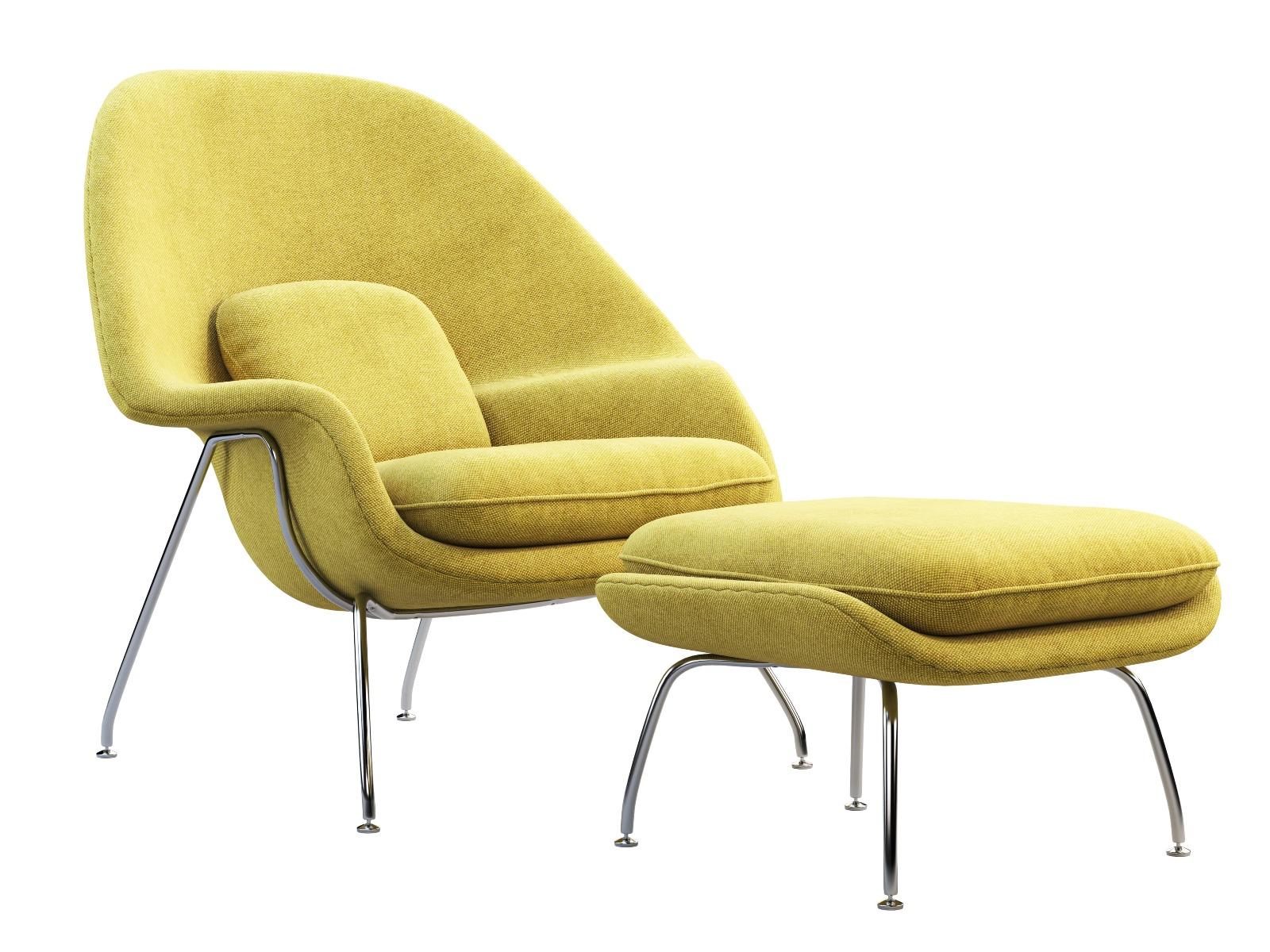 Das Bild zeigt einen gelben Sessel im Vintage Stil.
