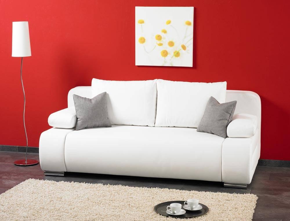 Das Bild zeigt eine Kunstleder Couch in Weiß.