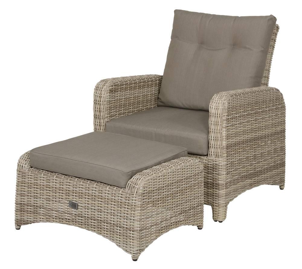 Das Foto zeigt einen Rattan Sessel mit Hocker.