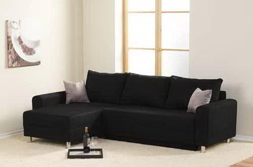 Das Bild zeigt ein Schlafsofa in Schwarz.