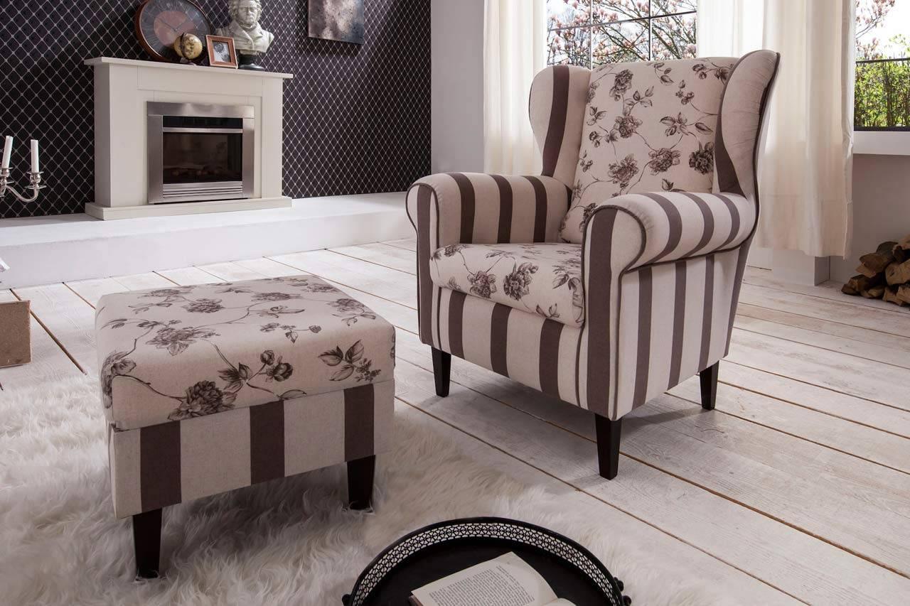 Das Bild zeigt einen Sessel im Landhausstil.