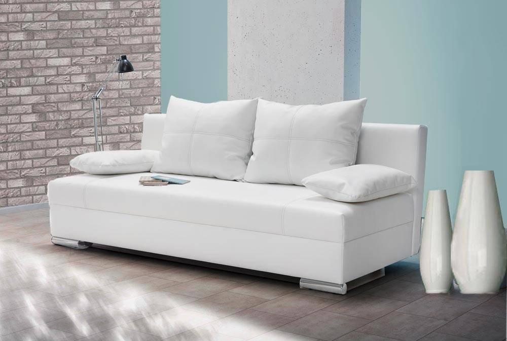Das Foto zeigt ein weißes Zweisitzer Sofa.