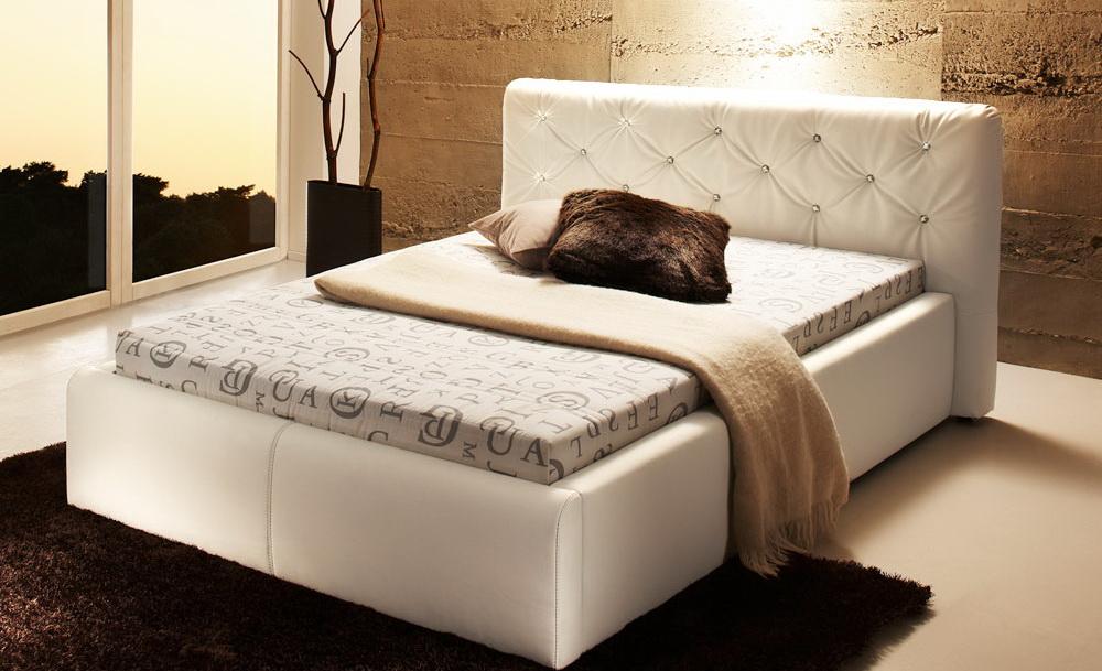 Polsterbett 140 x 200 cm Jugendbett Mädchenbett Kunstleder Bett Weiß ...