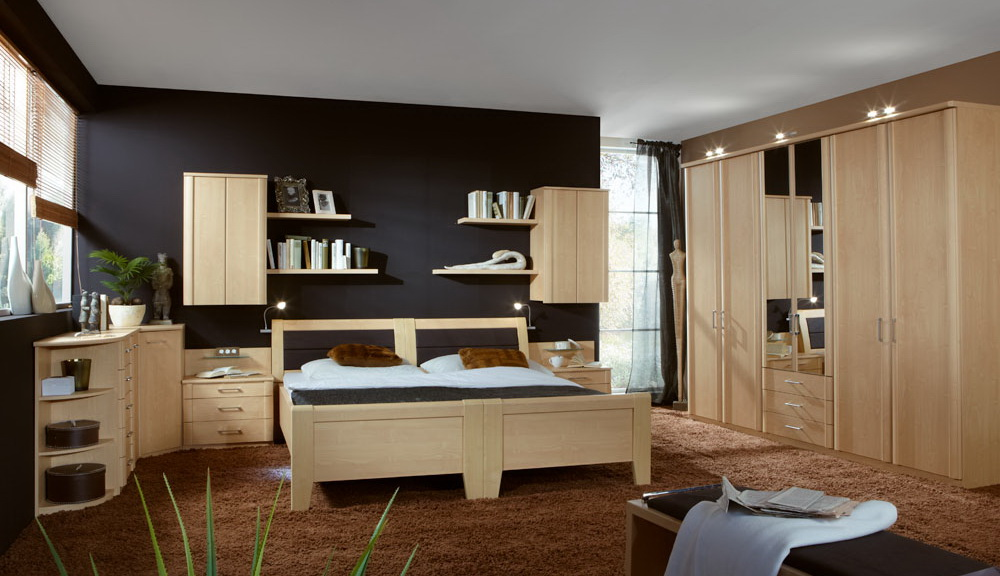 Schlafzimmer Bett Schrank Kleiderschrank Gold Ahorn Spiegel NEU ...
