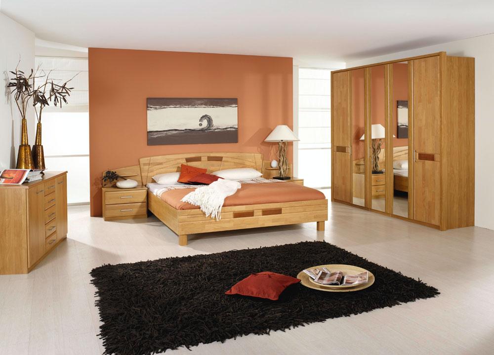 Schlafzimmer komplett Bett Kleiderschrank Spiegel Nachttische teil ...