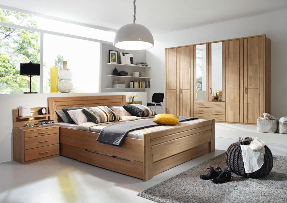 Schlafzimmer Bett Kleiderschrank massiv teilmassiv Echt ...