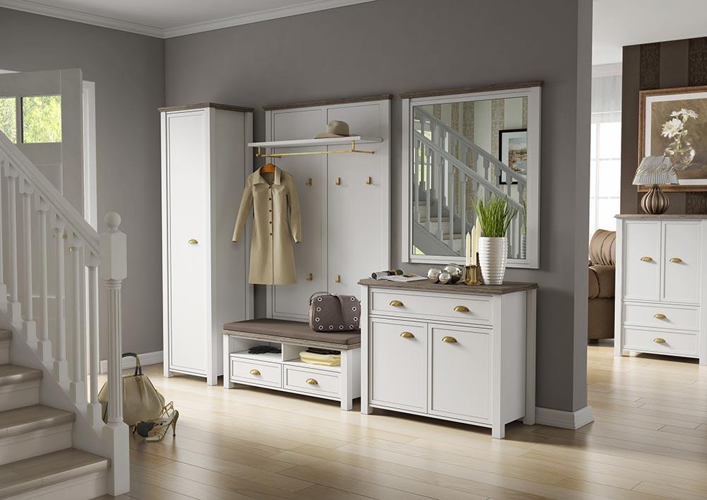 Garderobe Schrank Bank Wandpaneel Kommode Spiegel Weiss San Remo