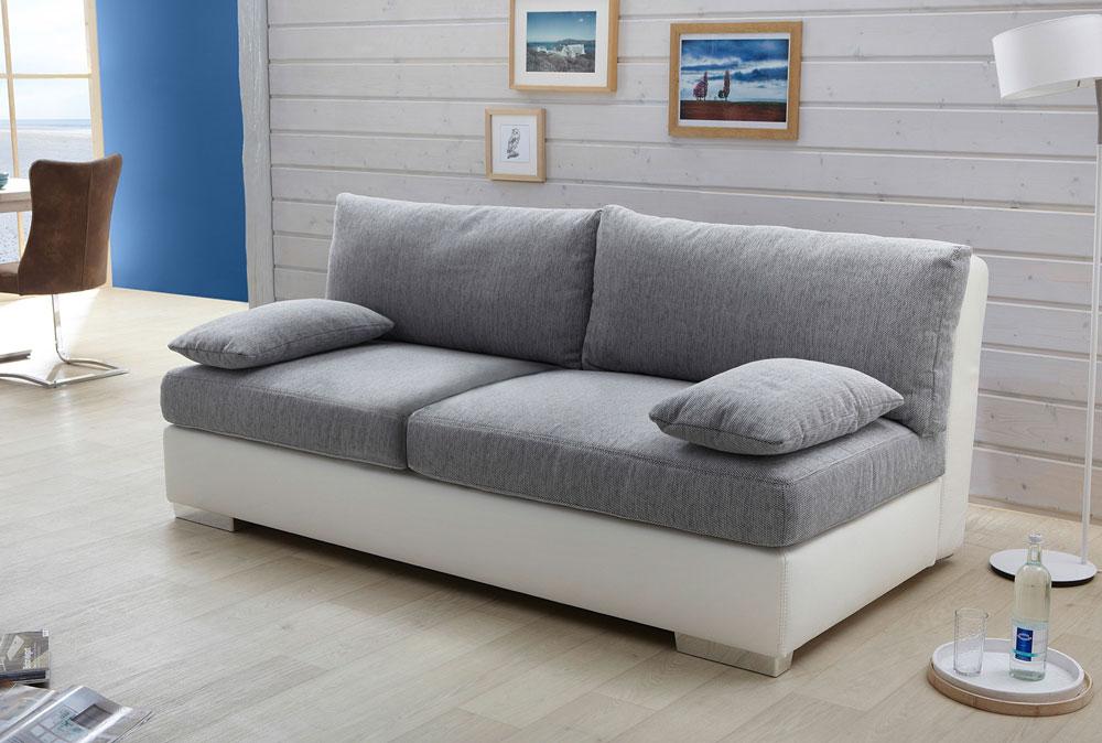 Funktionssofa Schlafsofa Weiss Sofa Kunstleder Grau Boxspring Couch