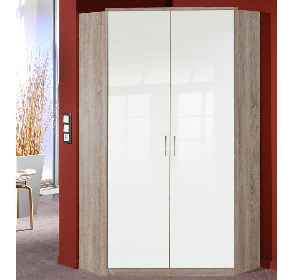 eckschrank eckkleiderschrank wei hochglanz glanz eiche sonoma s gerau 26444 ebay. Black Bedroom Furniture Sets. Home Design Ideas