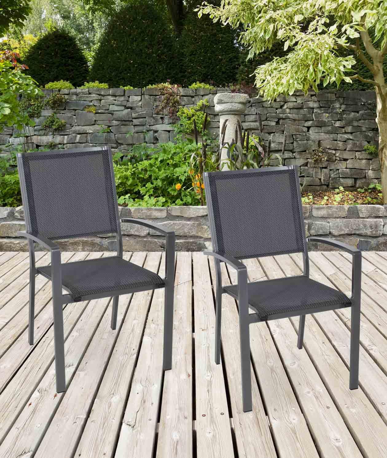 Lifestyle4Living Gartenstühle mit Textylenbezug in anthrazit und einem Gestell aus Aluminium in anthrazit, 2er-Set, Maße: B/H/T ca. 55,5/94/64,5 cm