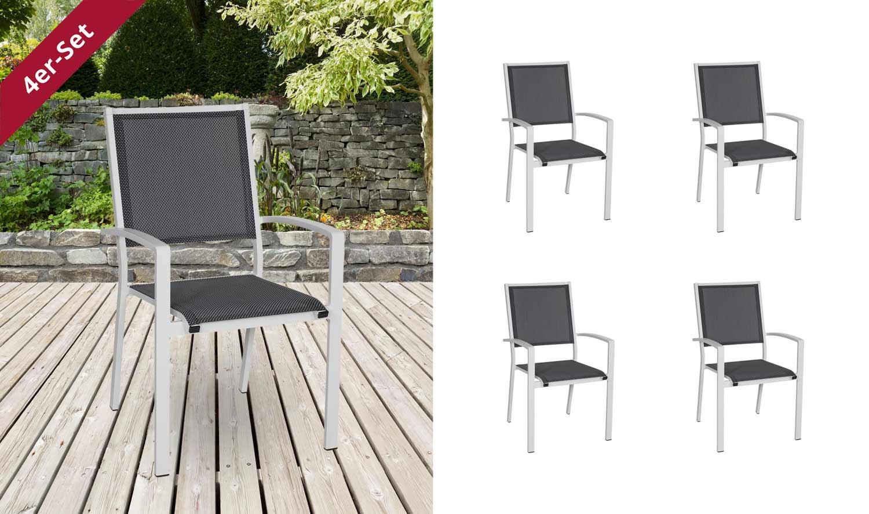 Lifestyle4Living Gartenstühle mit Textylenbezug in anthrazit und einem Gestell aus Aluminium in hellgrau, 4er-Set, Maße: B/H/T ca. 55,5/94/64,5 cm