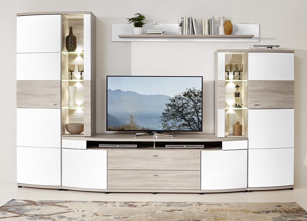 anbauwand wohnwand schrankwand wei hochglanz glanz sandeiche eiche neu 32735 ebay. Black Bedroom Furniture Sets. Home Design Ideas