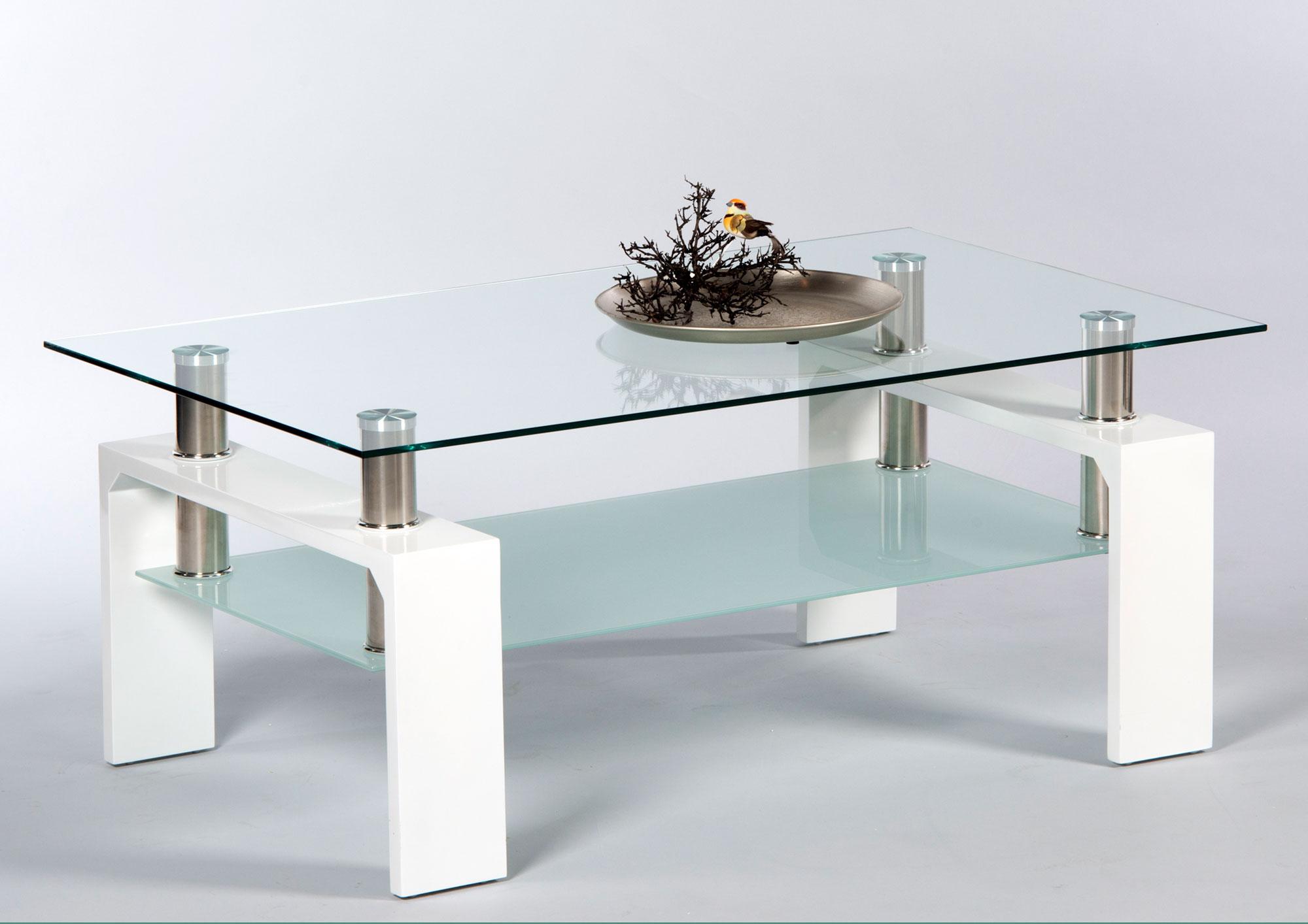 Couchtisch Wohnzimmertisch Sofatisch Tisch Weiß Lack Glas Edelstahl