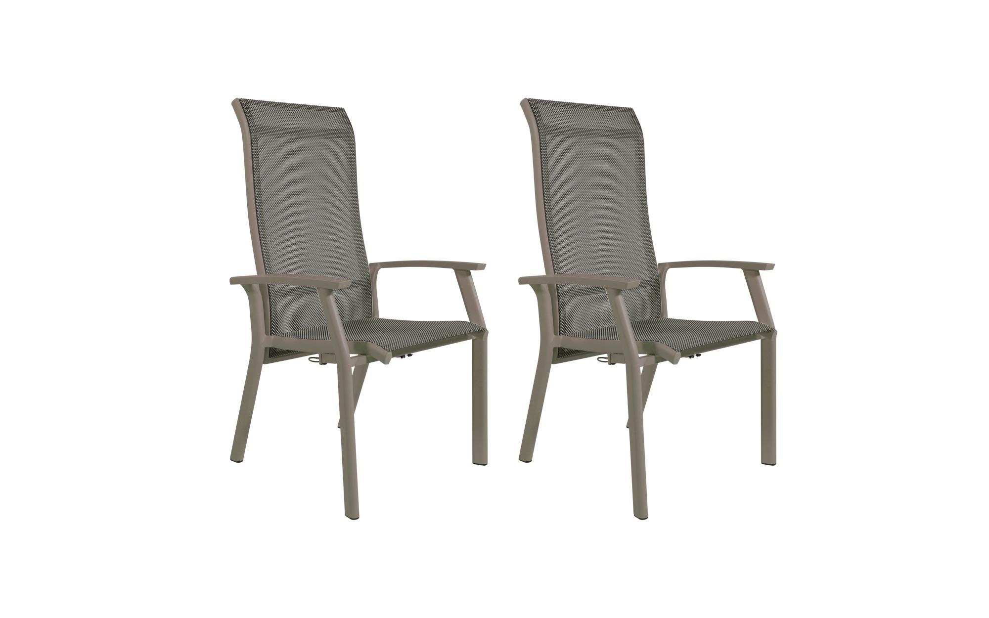 Lifestyle4Living Gartenstühle mit Textylenbezug in beige und einem Gestell aus Aluminium in beige, Rückenlehne verstellbar, 2er-Set, Maße: B/H/T ca. 58,5/112,5/65 cm