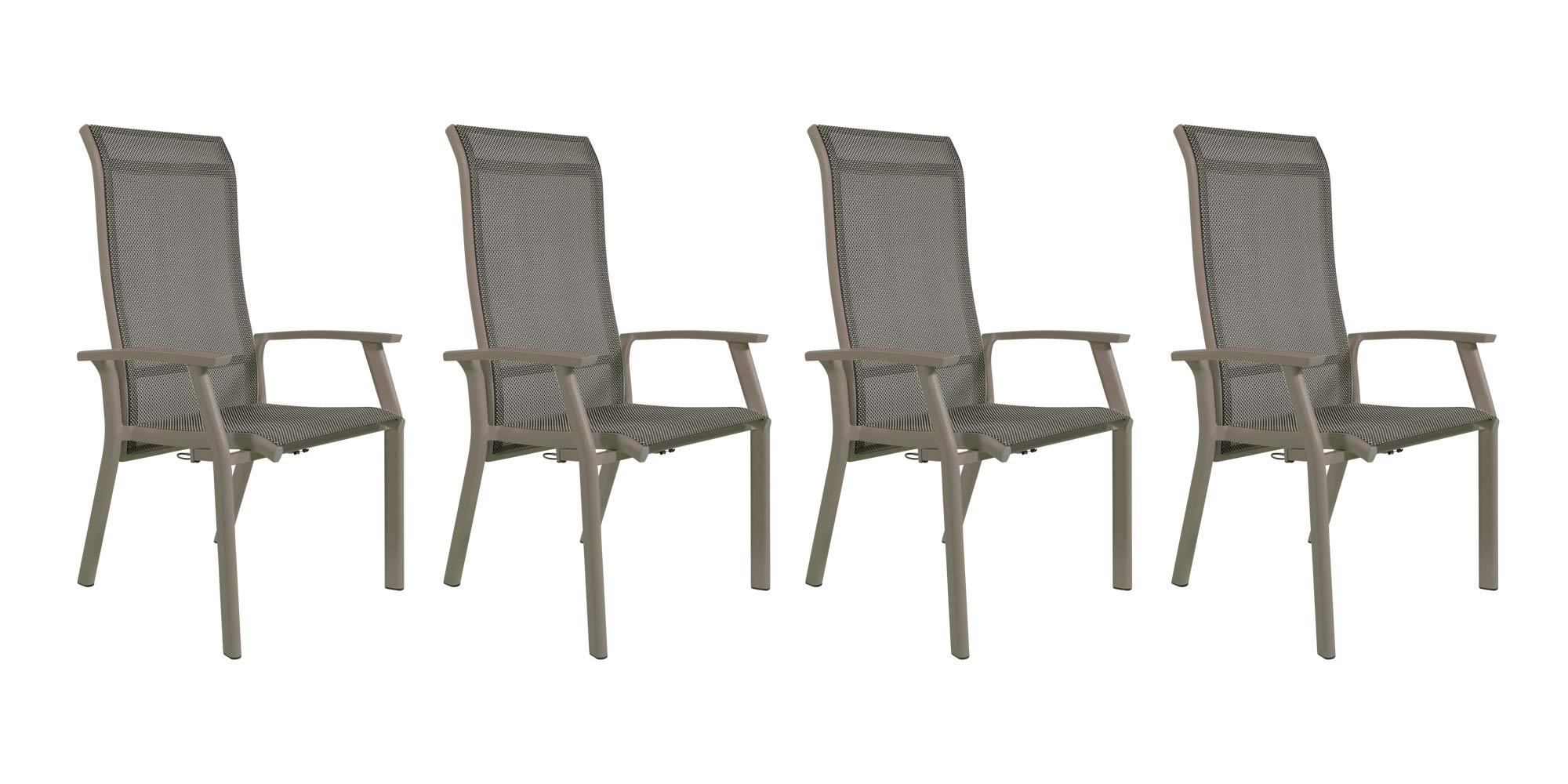 Lifestyle4Living Gartenstühle mit Textylenbezug in beige und einem Gestell aus Aluminium in beige, Rückenlehne verstellbar, 4er-Set, Maße: B/H/T ca. 58,5/112,5/65 cm