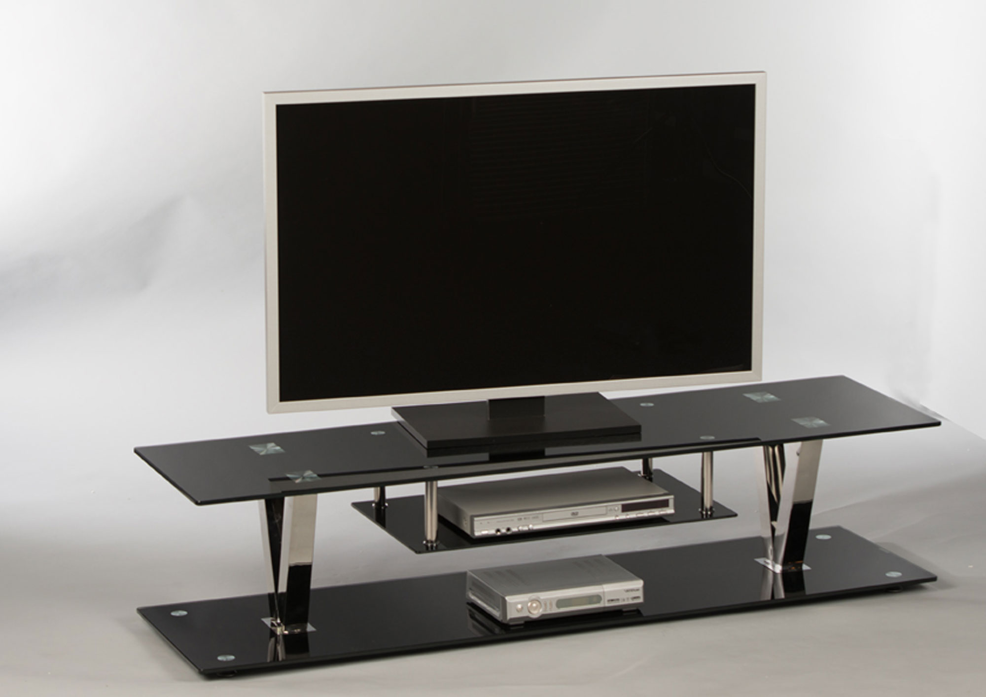 Lowboard Tv Board Fernsehschrank Tv Bank Tv Rack Schwarz Glas