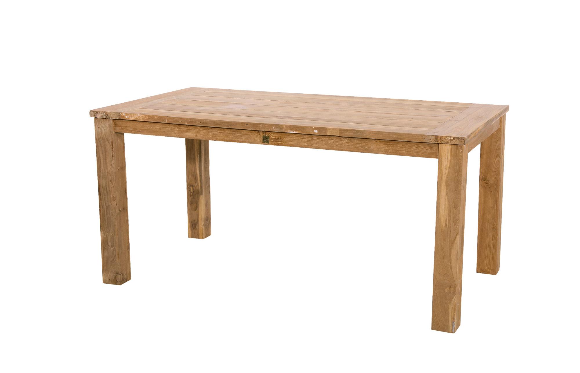 Lifestyle4Living Gartentisch aus recycelten Teakholz mit Säulenfüßen, Maße: B/H/T ca. 180/76/90 cm