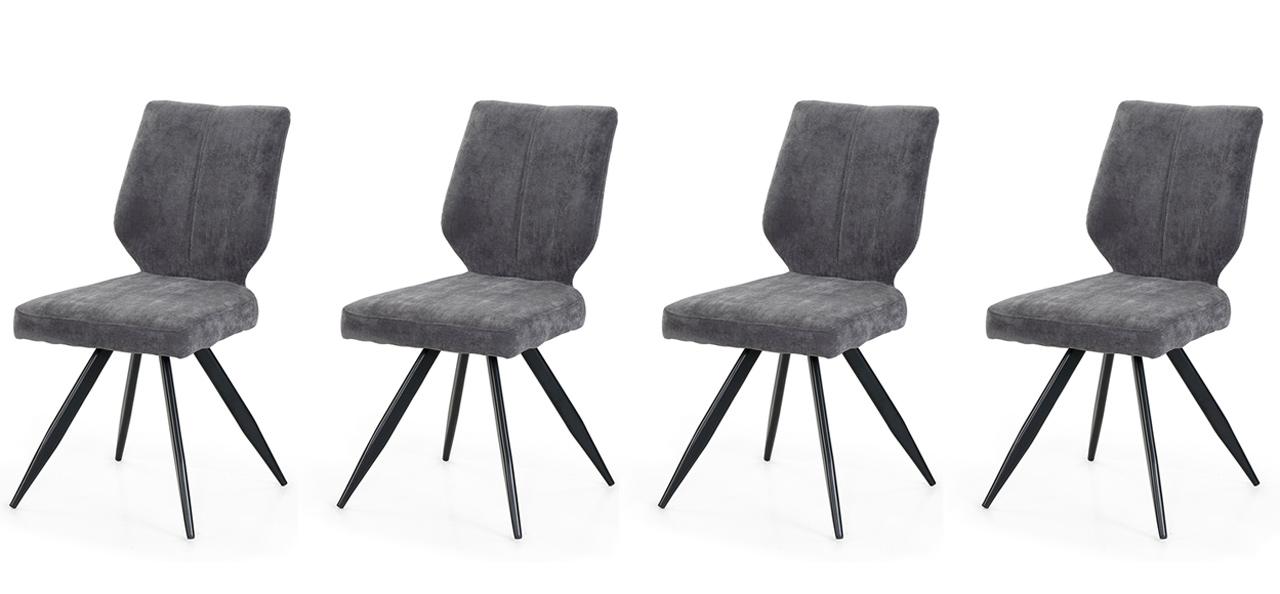 Lifestyle4Living 4er-Set Esszimmerstühle bezogen mit einem Stoff in grau, Maße: B/H/T ca. 44/87/59 cm
