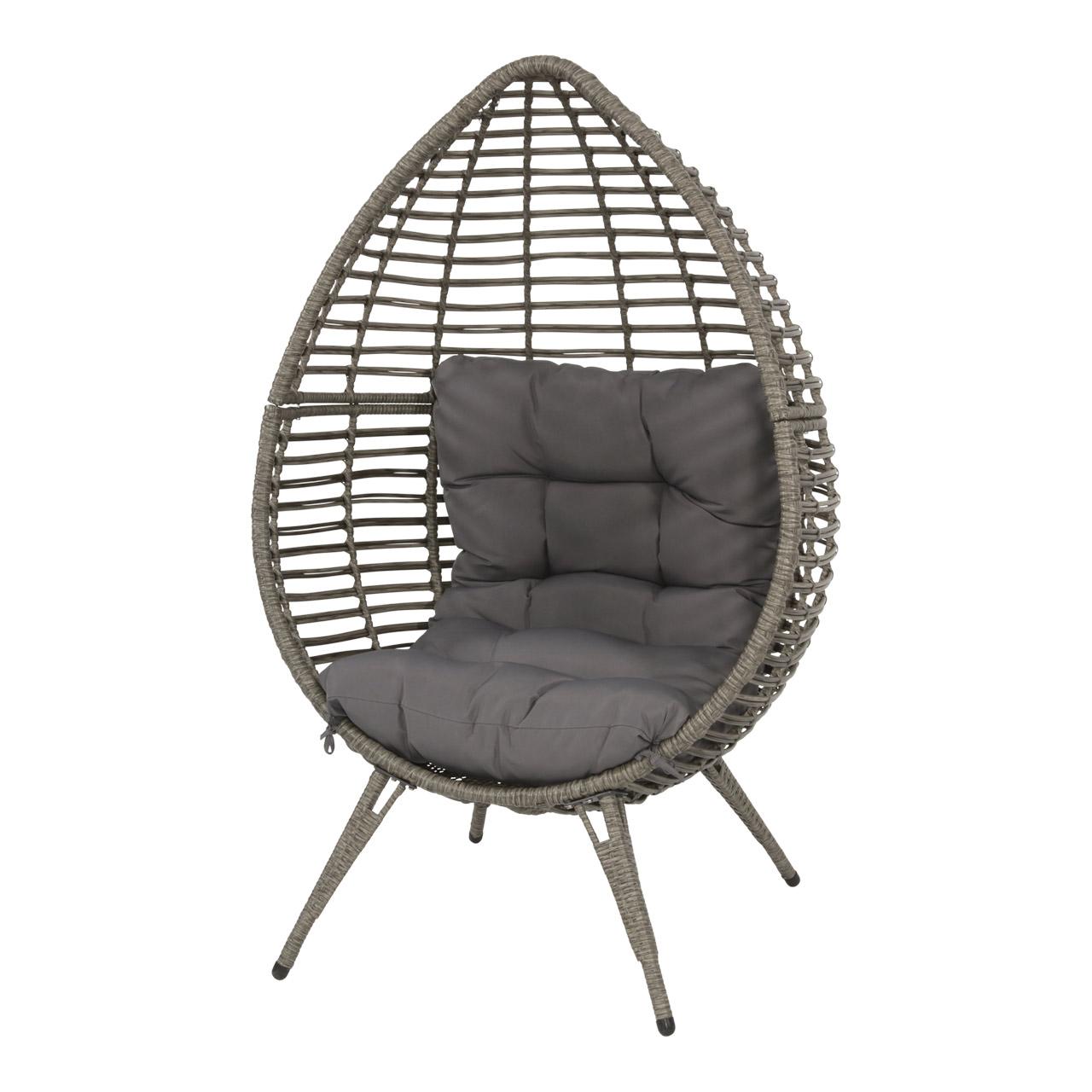 Lifestyle4Living Relax Stuhl mit einem Geflecht in grau-braun und 1 Kissen in grau, Maße: B/H/T ca. 99/156/91 cm