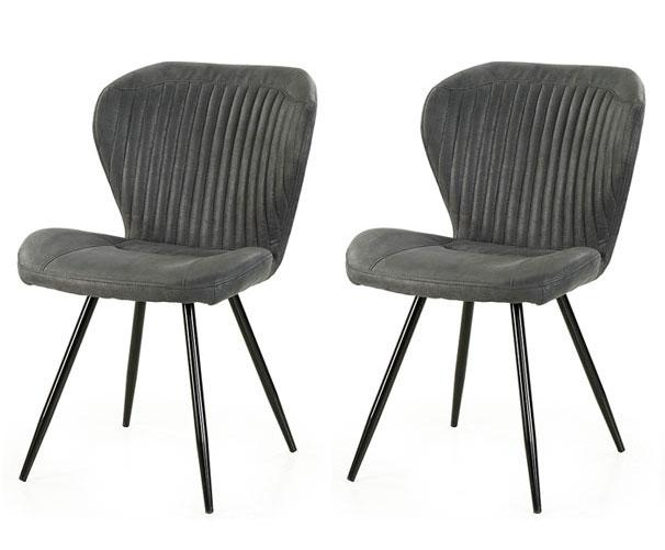 Lifestyle4Living Stühle in Anthrazit, Beine schwarz gepulvert, 2er-Set, Maße: B/H/T ca. 54/86/64 cm