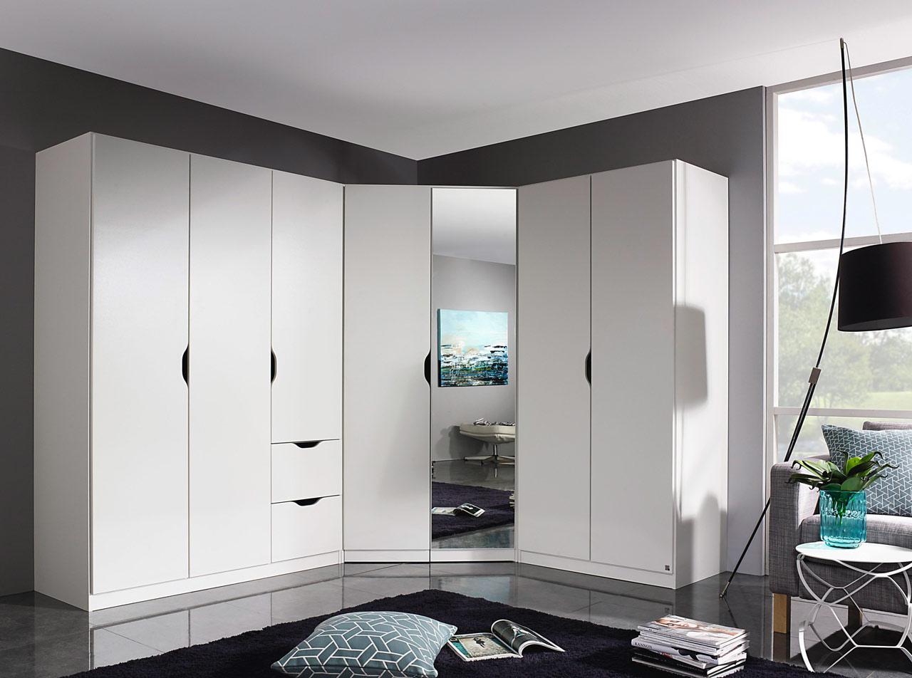Lifestyle4Living Schrankkombination in alpinweiß, 3-trg. Kleiderschrank B: 136 cm, 2-trg. Kleiderschrank B: 91 cm, Eckschrank