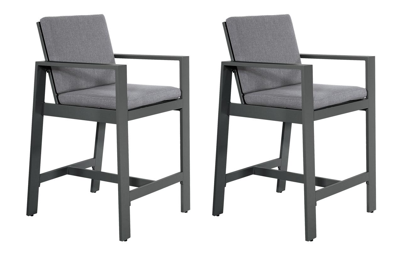 Lifestyle4Living Barstühle aus Aluminium in anthrazit, matt, Kissen in grau, Maße: B/H/T ca. 63/110/71 cm