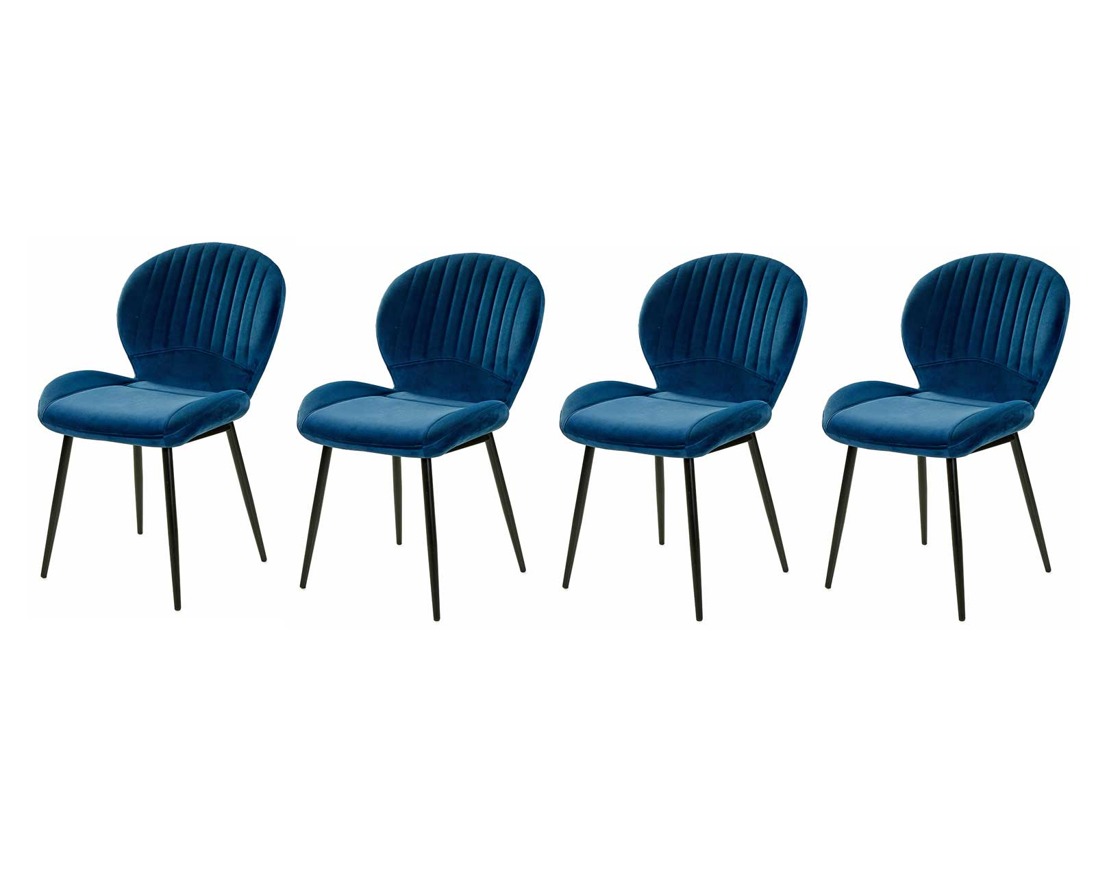 Lifestyle4Living 4er-Set Stühle in Samt blau, Gestell Metall schwarz, gepolstert, Maße B/H/T ca. 52/84/59 cm